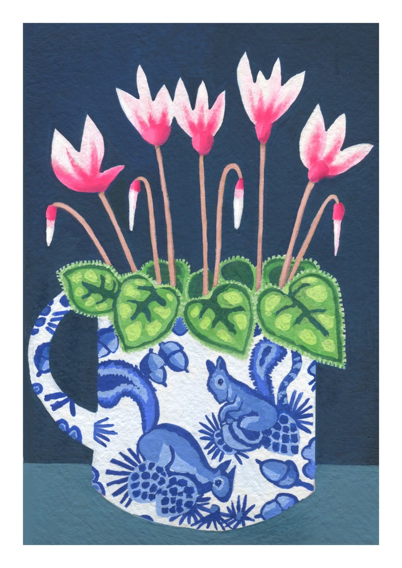Cyclamen in Squirrel Jug Cyclamen artist print on fine art paper from original gouache acrylic painting Flower Painting Pink Flowers