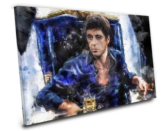 Watercolor Art Stretched Canvas Wrapped Canvas Scarface Tony Montana Al Pacino Painting