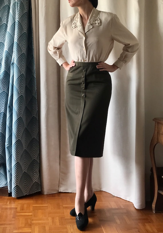 Vintage pin-up pencil skirt 1940 40's 1950 50's - image 1