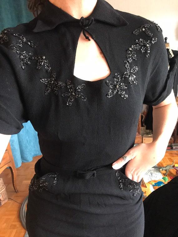 Vintage crepe dress 1940 40's black embroidered - image 5