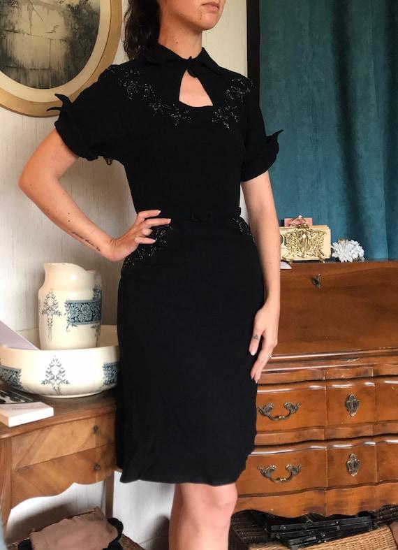 Vintage crepe dress 1940 40's black embroidered - image 3