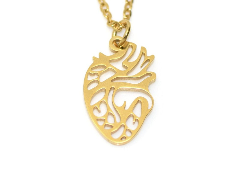 Gold Anatomical Human Heart Pendant Necklace Steampunk Valentine/'s Day Jewelry