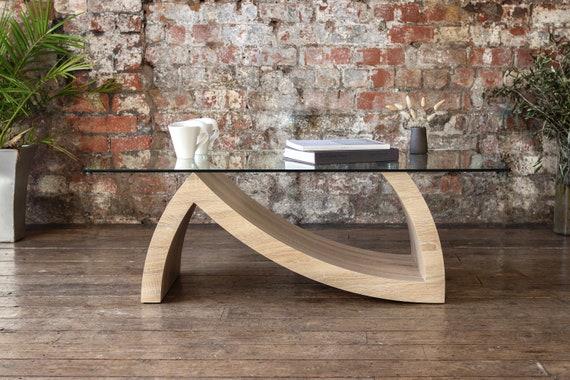 URSA Luxury Coffee Table Featuring Wooden Base Glass Designer Gloss Steel Wood