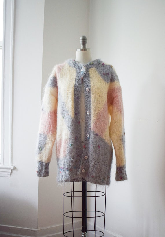Oversized Mohair Cardigan - Abstract Pastel Sweate