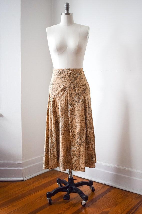 Snakeskin Slip Skirt - 100% Silk Bias Cut Skirt