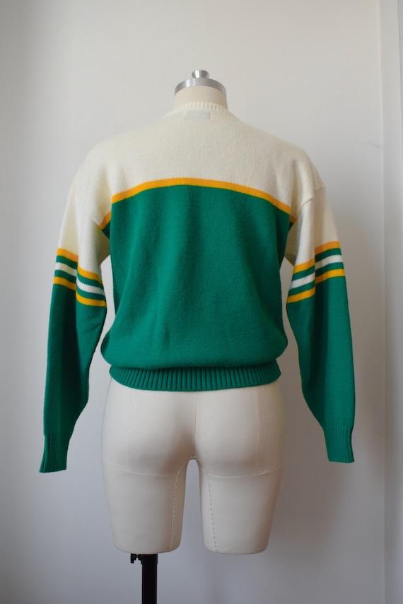 1980's Preppy Intarsia Sweater - Varsity Pullover - image 7