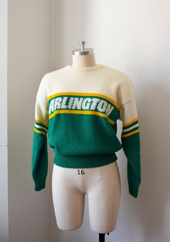 1980's Preppy Intarsia Sweater - Varsity Pullover - image 1