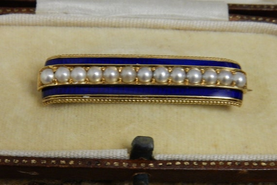 Antique  15k Gold Pearl and Blue Enamel late Victo