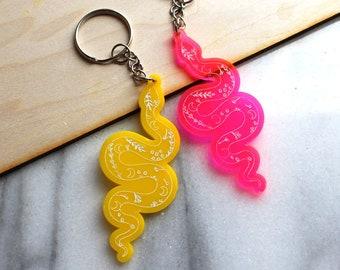 Floral Snake Charmer Key Chain | Desert Snake Engraved Keychain