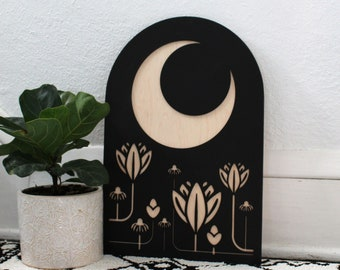Moon Garden Arch | Crescent Moon Floral Wood Wall Hanging