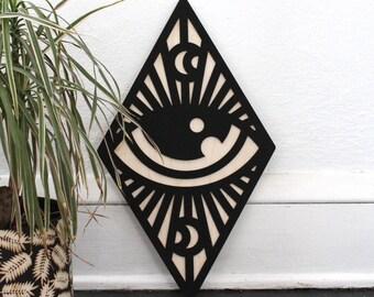 Eye & Moon Diamond Wall Sign | All Seeing Eye Wall Hanging