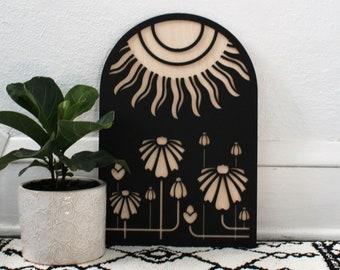 Sun Garden Arch | Sunshine Floral Wood Wall Hanging