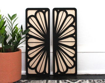 Petal Rays Panels | Floral Wood Wall Hanging (Set of 2)
