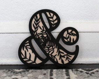 Floral Ampersand Sign | Flower Ampersand Wood Wall Hanging