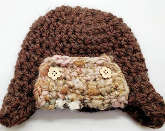 Bomber trapper hat with handspun yarn accents 6-12 months