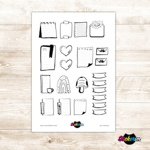 Doodle Task Stickers Black And White Planner Stickers Bullet Etsy