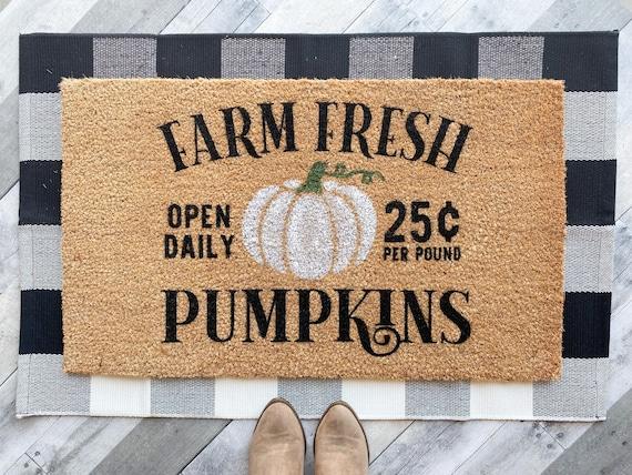 Fall White Pumpkin Doormat /Halloween Doormat
