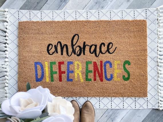 Embrace differences / Autism Awareness/ ASD / Disability Doormat