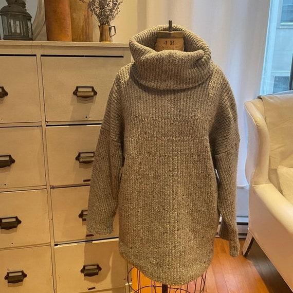 Trendy Vintage Hand-knit Oversized Grey Cowl Neck