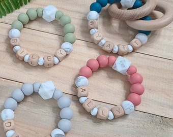 Girl~ Christmas Personalized Teether Ring Silicone Bead ~ Baby Boy