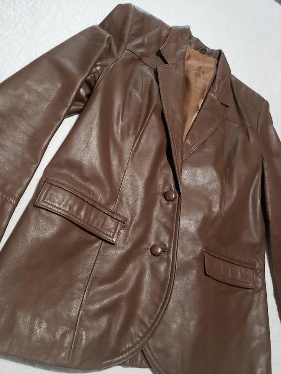 70s Vintage Pioneer Wear Leather Blazer Jacket, Bo