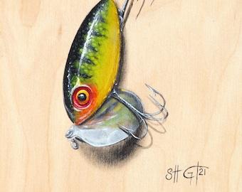 Fishing Lure Painting Print - Fine Art Print, Acrylic Painting, Print on Fine Art Paper
