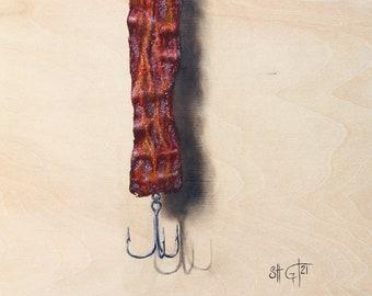 Bacon Fishing Lure Painting  - Fine Art Print, Bacon Art, Fishing Art, Print of Original Acrylic Painting