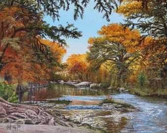 Fall Frio River Print, Landscape Painting, Texas Hill Country, Concan, Garner, River Art, Texas Art, River Landscape, Great Outdoors