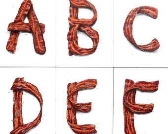 Alphabet Bacon Letter Paintings, Fine Art Prints, Initial Art, Name Art, Print of Acrylic Painting, Original Art