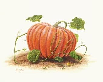 Fall Painting - Pumpkin Art, Word Fall in Vine, Pumpkin Painting, Print of Original Painting, Fine Art Print