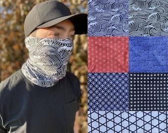 Double Layer Neck Gaiter Traditional Japanese Patterns | Men/Women | Blue Wave | Face Mask/Balaclava by nekku