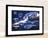 Star Trek Evolution of the Star Ship Enterprise Variations Framed Photo Print Poster