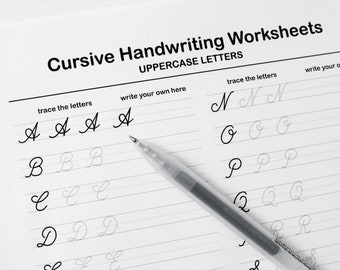 Printable Cursive Worksheets–9 Pages (Letters and Words)   For Middle School Kids and Up + Adults   *PDF File Only*