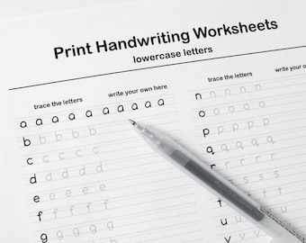 Printable Handwriting Worksheets–5 Pages (Letters, Words, and Sentences)   For Middle School Kids and Up + Adults   *PDF File Only*