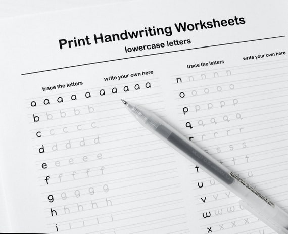 Printable Handwriting Worksheets5 Pages Letters Words And Etsy