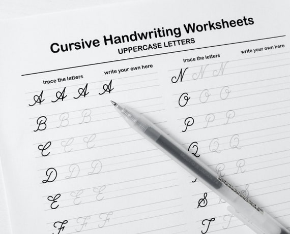 Printable Cursive Worksheets9 Pages Letters And Words For Etsy