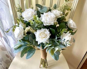 Boho wedding bouquet, READY TO SHIP premium white roses & greenery bridal bouquet, wedding bouquet, bridesmaid flowers