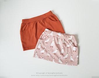 Pocket Skirt PDF pattern   baby skirt sewing pattern   easy skirt   Pdf pattern jersey skirt    baby pdf pattern   girl pdf pattern