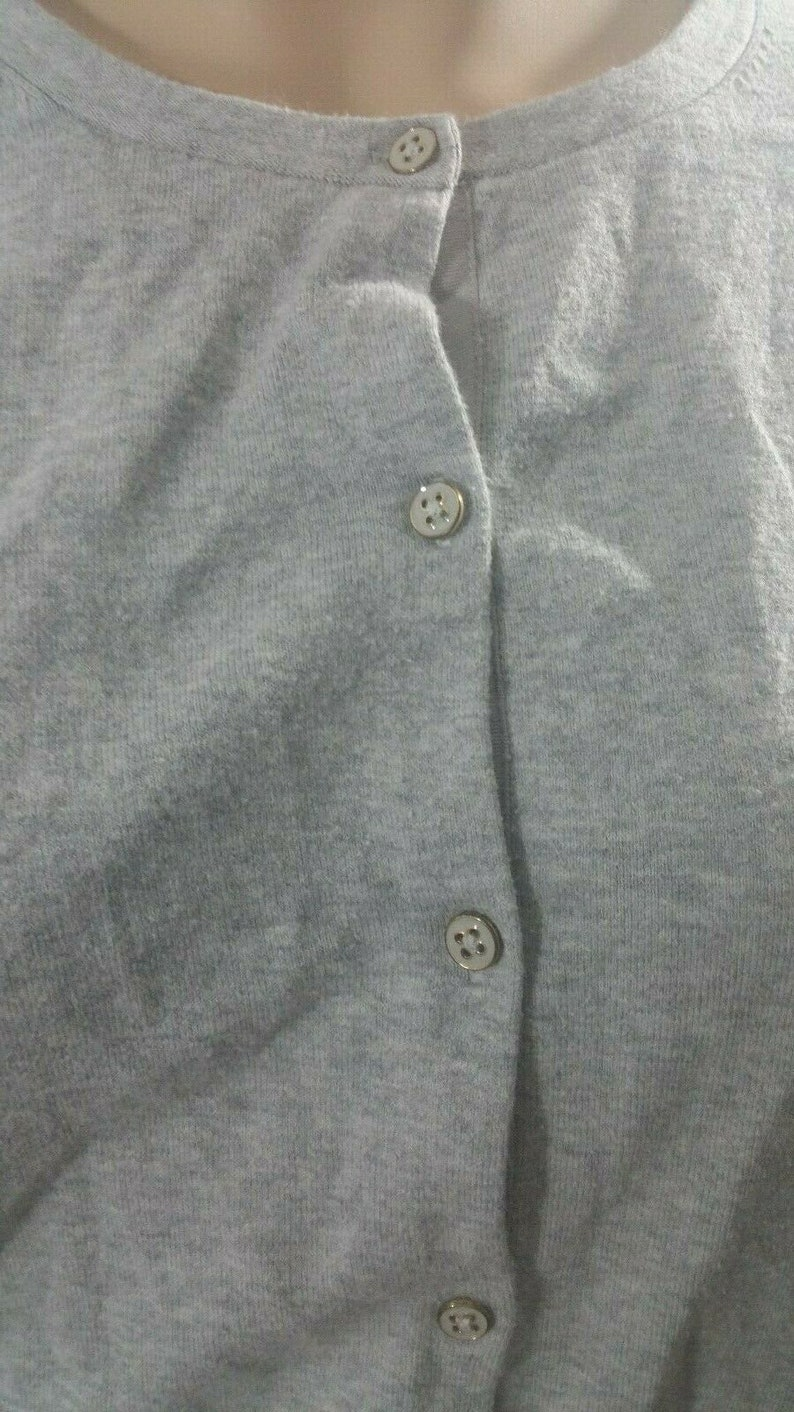 Lands End Long Sleeve Grey Button Up Lite Weight Sweater Top Blouse Size SP 6-8