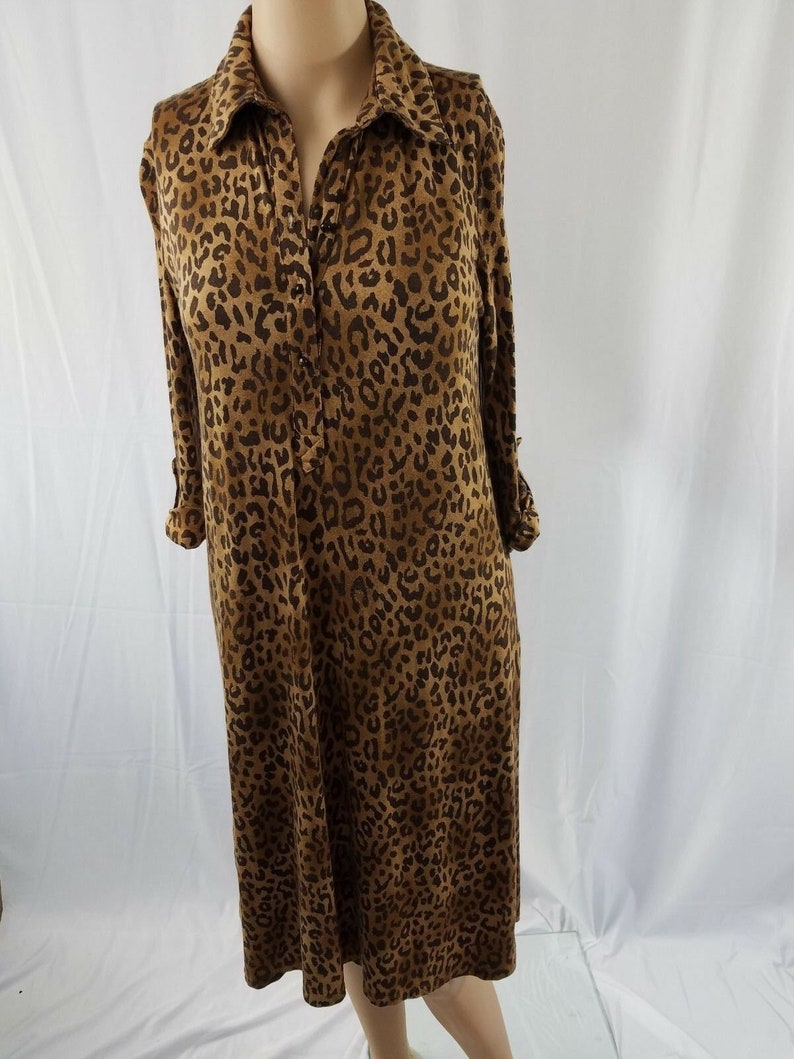 Merona Womens Dress Camel Brown Animal Print Collared Knit Popover 34 Sleeves S
