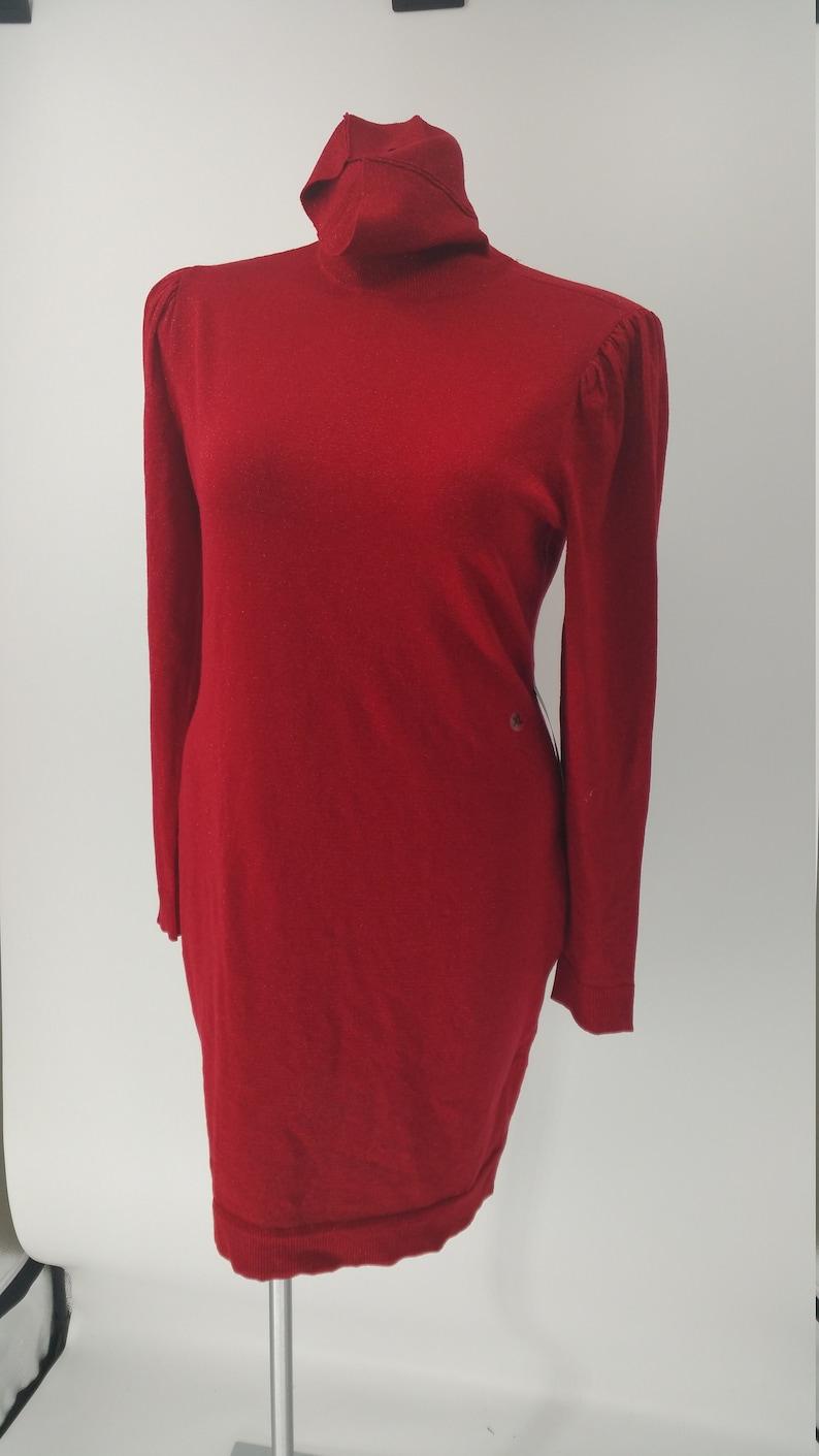 Shimmery NYandC Red Long Puff Sleeve Turtle Neck Lite Sweater Dress SSize XL Dress Sweatheart Dress Gown Evening Short Dress Crochet