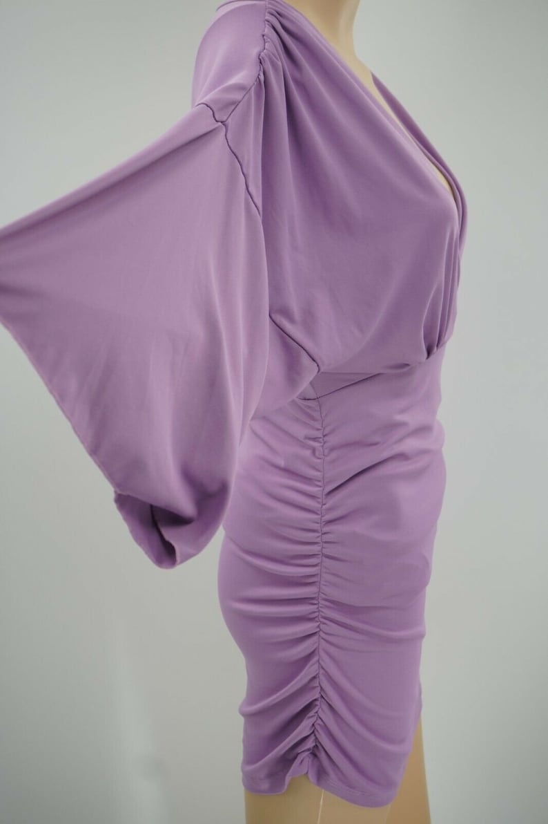 No Brand Tag Knit Purple Short Sleeve V-Neck Side Ruched Short Dress Size M