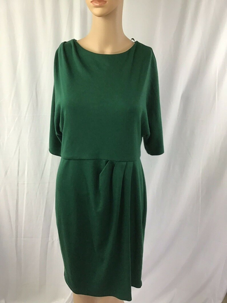 Jessica Howard Fit Flare Thick Knit Stretch 34 Sleeve Dress Green Size 12P