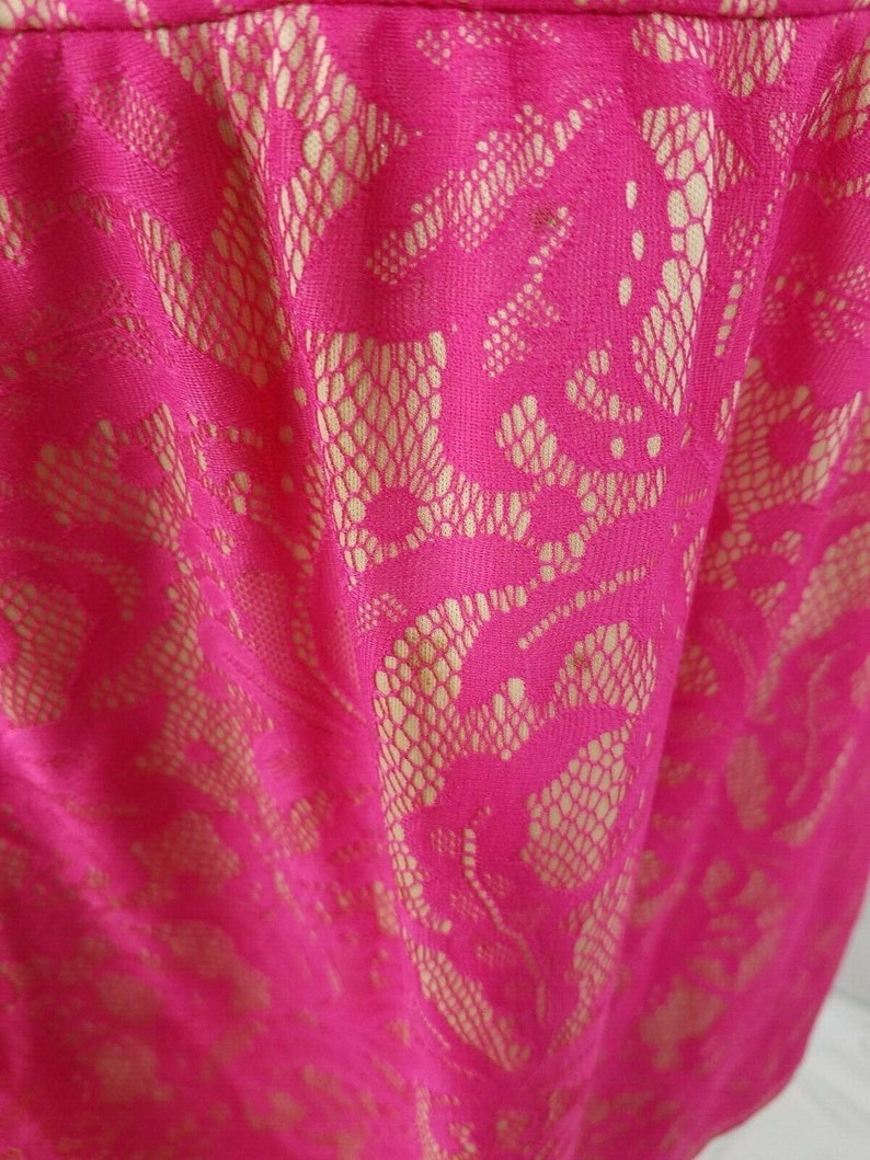 HS HeartSoul Womens Floral Pink Lined Fit Flare Lace Dress Back Zip Size Medium