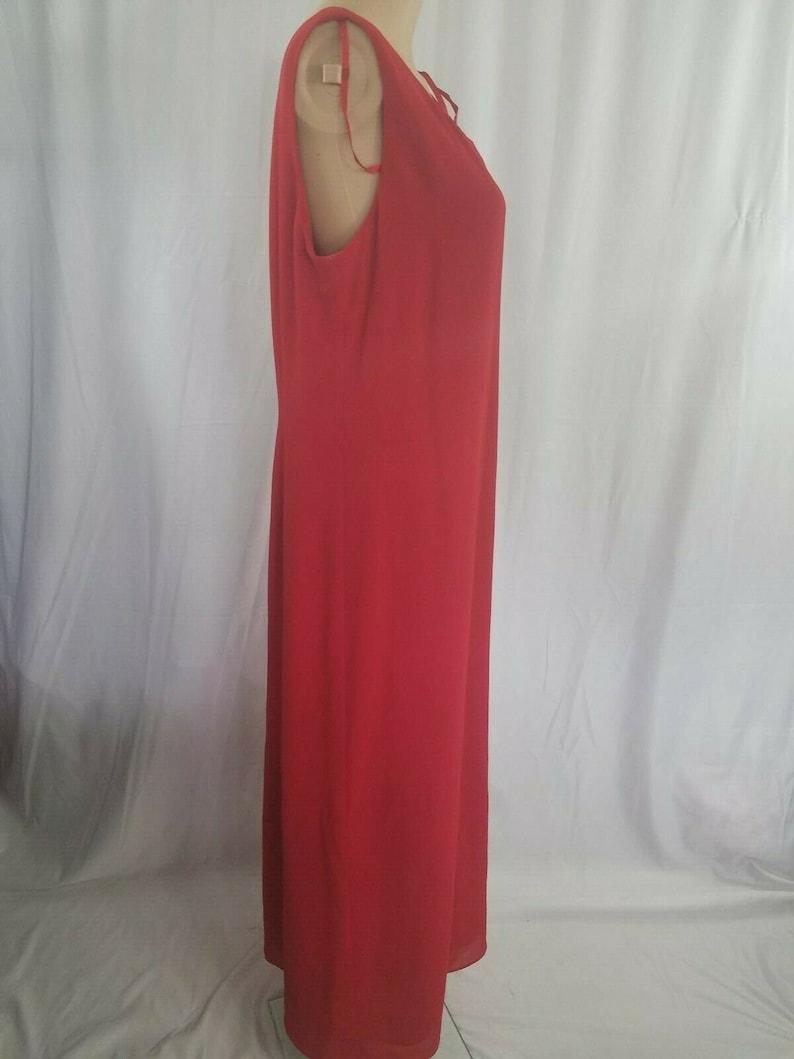 Womens Studio 1 Size 10 Long Sleeveless Shealth Red Dress Back Zipper and Slit