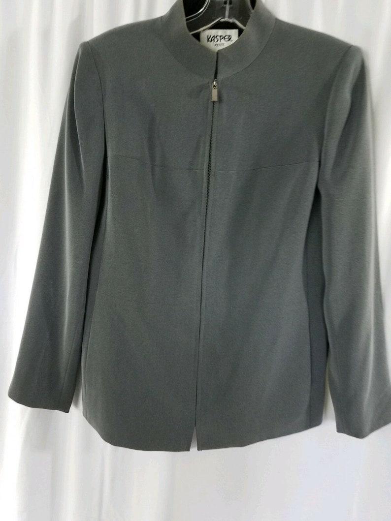 Kasper Womens 4 P Petite Linen Blend Lined Gray Zip up Blazer Coat Jacket
