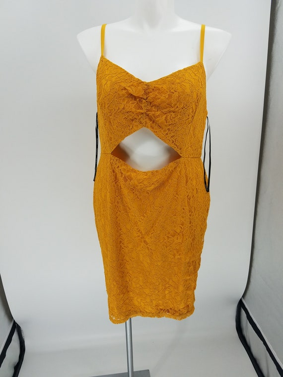 Forever 21 Lace Knit Sleeveless Dress with Open Front Mustard 3X NWT