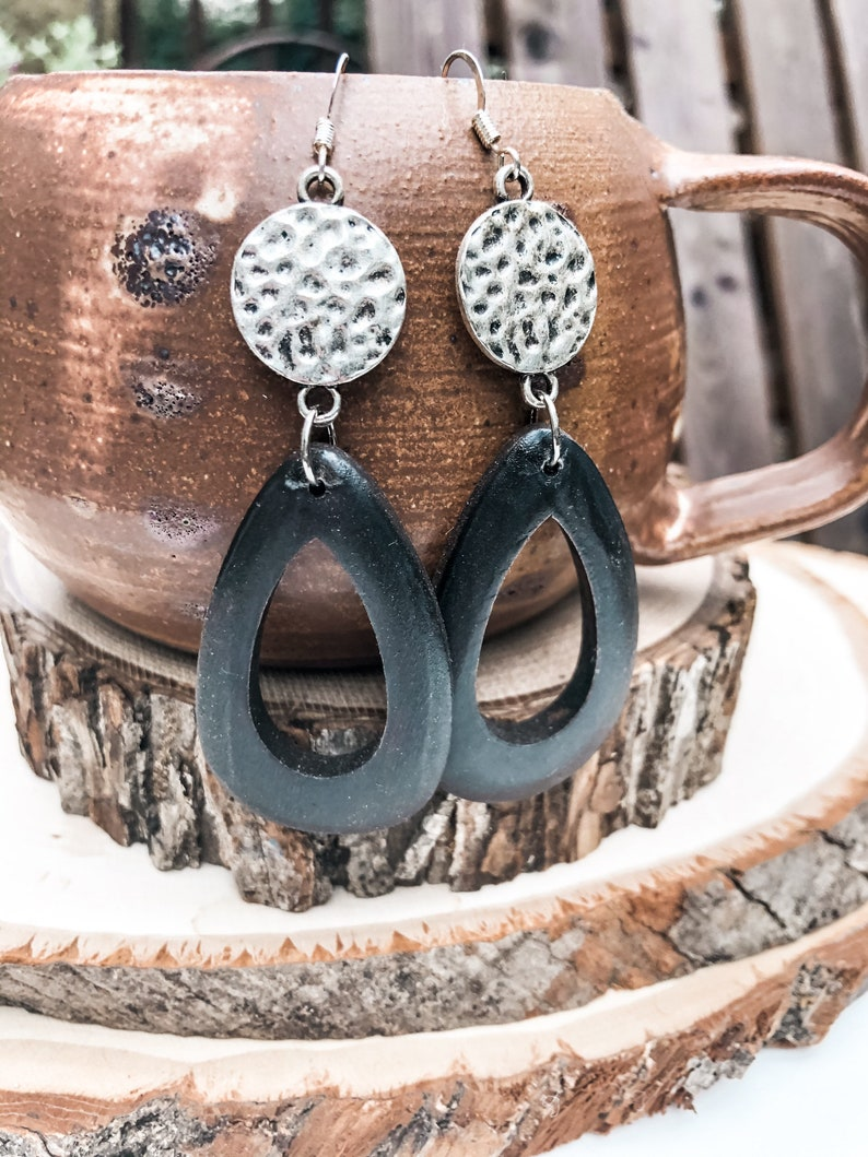 Hammered Silver and Wood Dangle