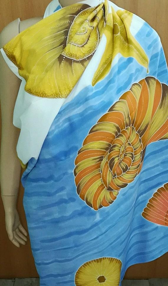 Seashell Cotton Batik Sarong-Shawl-Wrap