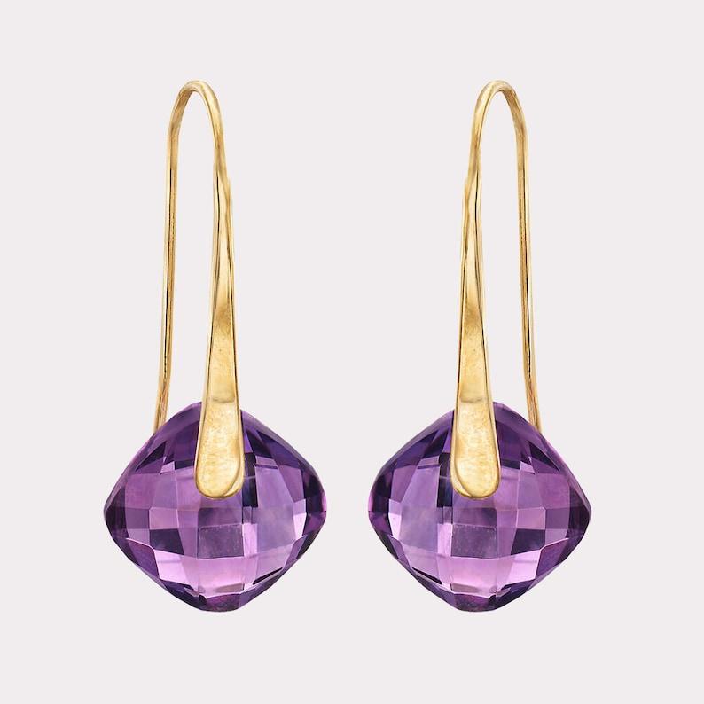 Drop Earrings Silver Dangle Earrings Birthstone Earrings -Purple Jewelry Stone Earrings Amethyst Earrings Large Earrings